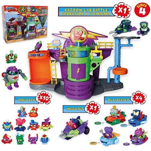 SuperZings Serie 4 - Kazoom Lab Battle y Pack Sorpresa con 15 Sets | Contiene Juguete Kazoom Lab Battle, 10 Sobres One Pack, 4 BlasterJets y 1 MegaJet | Regalos para Niños de 4 5 6 7 8 9 años