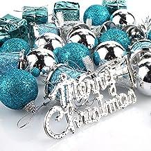 Weihnachtskugeln Weihnachtsdeko,Parsion 32pcs Weihnachtskugeln Baumkugeln Baumschmuck Weihnachtsdeko Anhänger für Weihnachtsbaum-Ausgangsdekoration (blau)