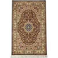 Tradizionale fatto a mano Kashan persiano, lana/Art. Seta (Highlights), Marrone,
