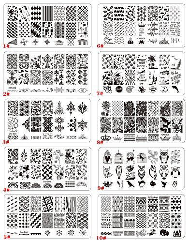 Aution House - Set Arte Stampe Lastre di Stampa da Unghie - Forma di Rettangolare/ Circle Piatto da Unghie Arte Bellazza - DIY Arte Unghie (OM Rettangolare A)