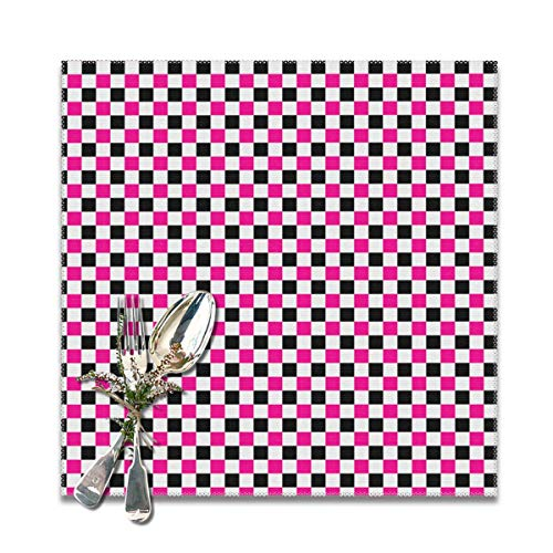 Dimension Art Pink and Black Checkers Patterns Placemats Set of 6/4 for Dining Table Washable Polyester Placemat Non-Slip Wear and Heat Resistant Kitchen Table Mats Easy to Clean, 12x12 In Hot Pink Checker