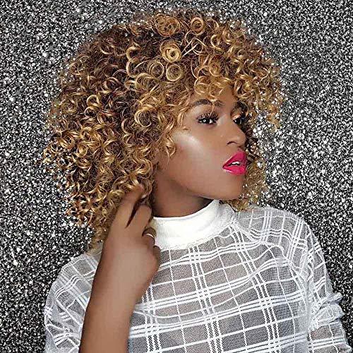 Perücke Gold Flauschige Afrika Damen Kurzer Absatz Kopfbedeckung Frau Perücken Wellig Lockig Hitzebeständig Wig Synthetik Perücke Für Karneval Fasching Cosplay Party Kostüm