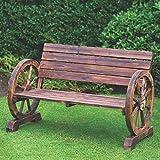 Acabado rústico tradicional construcción Wagon rueda banco 2plazas jardín uso