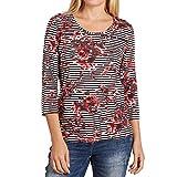 Betty Barclay 1065 2348 Damen Shirt mit schönem Rosendruck 3/4-Arm und Rundhals, Groesse 42, rot/weiß/gestreift
