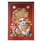 Bild Krishna 3D Hologramm 33 x 48 cm rot Kunstdruck Plakat Poster Indien Hinduismus Hochglanz Dekoration