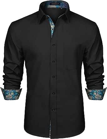 HISDERN Men's Inner Contrast Shirt Casual Formal Classic Button Down Dress Shirts Long Sleeve Plaid Collar Regular Fit