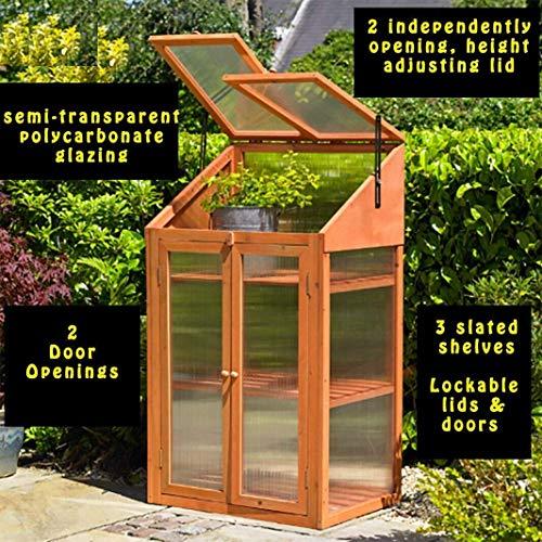 Abaseen Frühbeetkasten aus Hartholz, transparent, Einheitsgröße, Braun, 120 x 69 x 49 cm