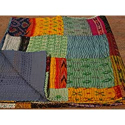 Tribal asiatischen Textilien Queen Size Seide Sari patola Patch Work Reversible Kantha Steppdecke, indischen Sari Quilt, recycelten craft, Vintage Kantha Werfen, indischen Handmade Gudri Tagesdecke 01