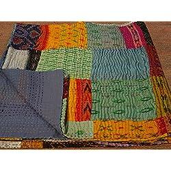 Tribal asiatischen Textilien Queen Size Seide Sari patola Patch Work Reversible Kantha Steppdecke, indischen Sari Quilt, recycelten craft, Vintage Kantha Werfen, indischen Handmade Gudri Tagesdecke 01