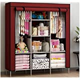 BDMP 6+2 Layer Portable Foldable Collapsible Closet/Cabinet (Need to Be Assembled) (88130) (Wine Red)