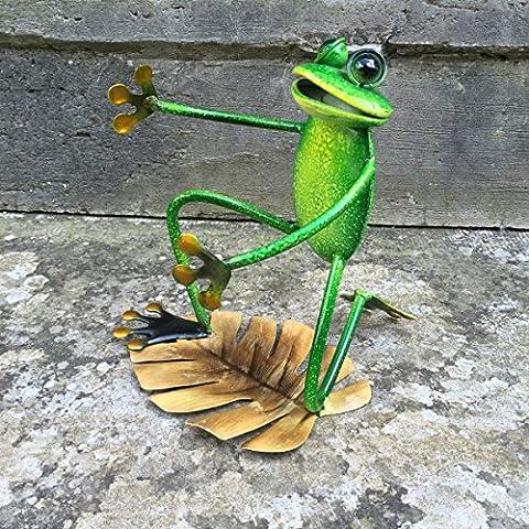 Mignon et brillant en métal vert grenouille Support pour bouteille de vin ou verre–decor de cuisine avec peinture émail