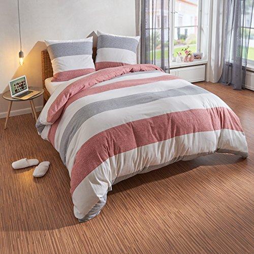 Traumschlaf Bettwäsche Biber Streifen rot 1 Bettbezug 240 x 220 cm + 2 Kissenbezüge 80 x 80 cm - Rot Bettbezug