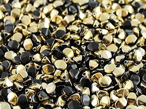 50psc Pinch - Ceco pressato di vetro Perline triquetrous 5 x 3.5mm, Jet Black Amber