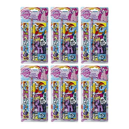 Blue Sky Studios - My Little Pony x 6 Stück Schreibwaren-Set, Partytüten Füllmaterial für Kinder, Comic-Streifen-Druck, offizieller Kauf.