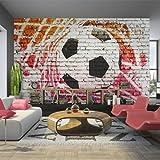 murando - Fototapete Fussball 400x280 cm - Vlies Tapete - Moderne Wanddeko - Design Tapete - Wandtapete - Wand Dekoration – Fußball Ziegel Graffiti Kindertapete Kinderzimmer Kinder 10110902-4