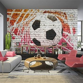 Murando   Fototapete Fussball 400x280 Cm   Vlies Tapete   Moderne Wanddeko    Design Tapete   Wandtapete   Wand Dekoration U2013 Fußball Ziegel Graffiti ...