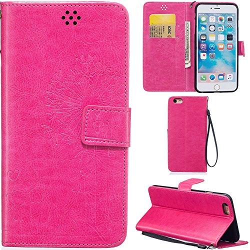 Ooboom® iPhone 6S/6 Plus Hülle Prägen Löwenzahn Liebe PU Leder Tasche Schutzhülle Cover Case Wallet Brieftasche Standfunktion Magnetverschluss für iPhone 6S/6 Plus - Kaffee Rose