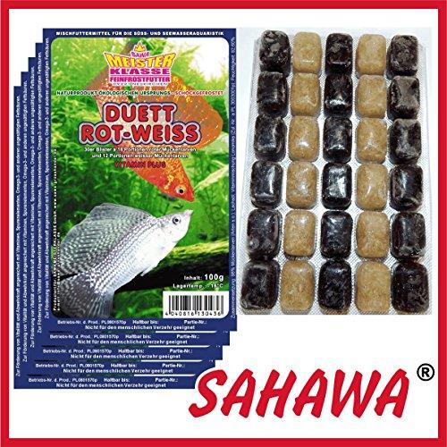 SAHAWA® Frostfutter 5X 100g Blister + 1 Blister Daphnien gratis, verpackt mit Trockeneis -78°C, Mückenlarven (Duett) ROTE und Weisse, Aquarium, Aquaristik, Fischfutter, Frostfutter -