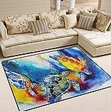 ZZKKO,,,,, Meer, Schildkröte, Aquarell, Bereich Teppich, für Schlafzimmer, Wohnzimmer, Küche, Multi, 4'x6(120x180 cm)