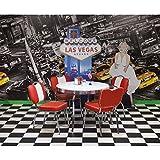 American Diner Bistrogruppe , 4 Bistrostühle in Kunstleder rot/weiß, runder 100cm Tisch weiß mit Chromrahmen