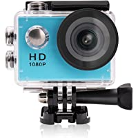 Yuntab ® A9 Caméra de Sport Action caméra étanche Full HD 1080p H.264 avec Caméscope HD Vidéo de 5 Mégapixels avec Grand Angle 120 degrés et Accessoires avec boitier étanche (A9, Bleu)