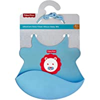 Fisher-Price Ultra Care Baby Bib with Pocket - Waterproof Feeding Bibs for Babies, 4months+ Ideal for weaning Babies (Blue)