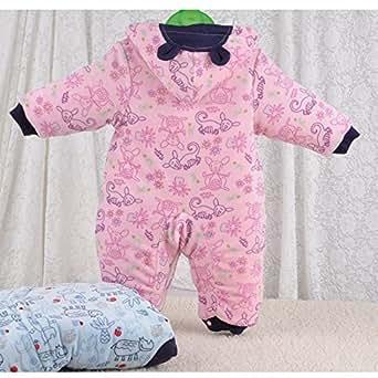 Bébé nouveau-né coton épais vêtements d'hiver justaucorps barboteuse monter des vêtements pour garder au chaud chapeau rose 6-9 mois