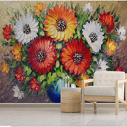 Mddjj Benutzerdefinierte 3D Wandbild Tapete Vlies Handgemalte Ölgemälde Vase Blume Wohnzimmer Sofa Hintergrund Wand Dekorpapier-450X300Cm