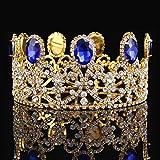 FUMUD Royal Crown Silver Rhinestone Blue Tiara Rhinestone Wedding Tiaras Princess Dress Accessories (Gold)