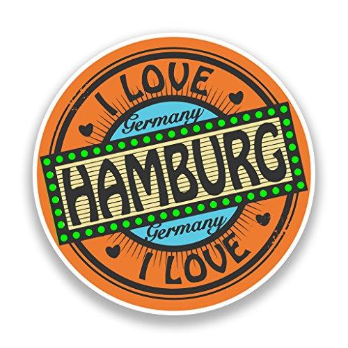 Preisvergleich Produktbild 2x I LOVE HAMBURG GERMANY VINYL Aufkleber Reise Gepäck # 7310 - 25cm/250mm Wide