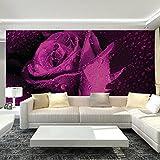 Yosot Benutzerdefinierte Wandbild Tapete 3D Non-Woven Wandbilder Schlafzimmer Wohnzimmer Tv Hintergrund Lila Rose Blume 3D Fototapete-200cmx140cm
