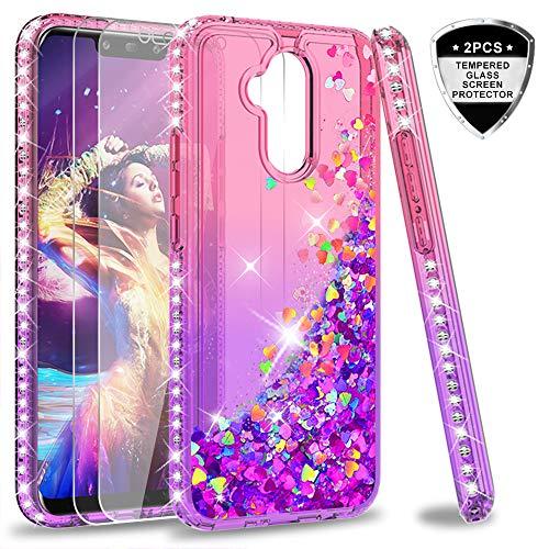 LeYi Hülle Huawei Mate 20 Lite Glitzer Handyhülle mit Panzerglas Schutzfolie(2 Stück),Cover Diamond Rhinestone Bumper Schutzhülle für Case Huawei Mate 20 Lite Handy Hüllen ZX Gradient Pink Purple