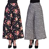 #8: 2DAY's Women Stylish Palazzo Black base Floral and Black Heart Print (Pack of 2)