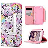 Lanveni iPhone 6 Case, iPhone 6S Case Unicorns Design PU Leather Wallet Flip Case Cover Pouch Magnetic Closure [Book Style] with Card Slots & Stand Function for iPhone 6s & iPhone 6 4.7