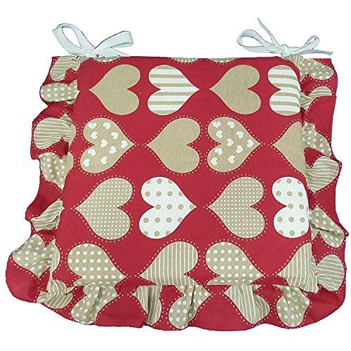 Set 6 cuscini shabby cuore rosso pois bianco con volant 40x40 spessore 5 cm, copri sedia cucina, euronovità