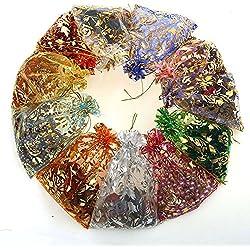 Cdet Süßigkeiten Taschen Bronzen Rose Netztasche Strahl Mund Kordelzug Tee Geschenk Süßigkeiten Rauchen Taschen Aufbewahrungsbeutel Kosmetiktaschen Wäschesack Aufbewahrungs Tasche Schmuck Taschen Hochzeitsdekoration,100 Stücke Mischfarbe 13*18 cm