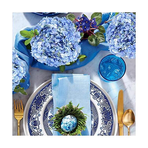 JUSTIDEA Flores Artificiales Hortensia Flor Falsa Ramo de Flores Azul para Decoración de Boda Hogar (10 Piezas)