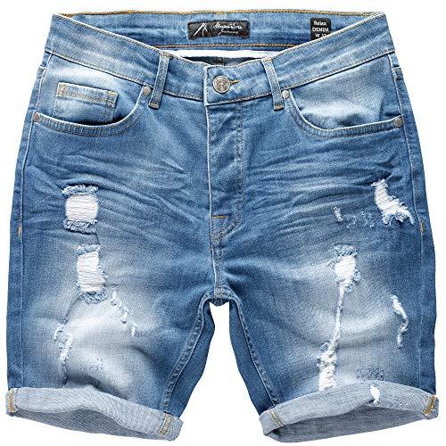 Amaci&Sons Herren Destroyed Jeans Shorts Kurze Hose Sommer Bermuda 7979 Hellblau W38 - Jeans-kurze Hosen