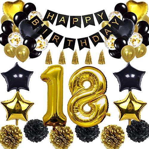 ationen Ballon Banner - Happy Birthday Banner, 18. Gold Anzahl Ballons, Schwarz und Gold, Nummer 18 Geburtstag Ballons, 18 Jahre alt Geburtstag Dekoration ()