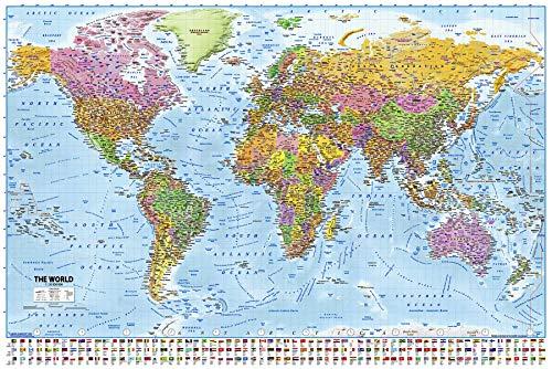 Póster Mapa del Mundo 2019 - MAPS IN MINUTESÙ/Incluye Banderas y Leyendas...