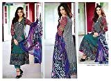 Pure Luxury Cotton suit with Chiffon Dup...