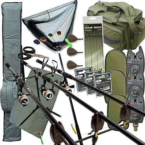 Komplettes Karpfen Angelzubehör Set Up mit 3 X Stangen 3 X Rollen Beinhaltet Rute Sporttasche Carry All -