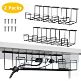 2 Packs Cable Management Tray, 40cm Under Desk Cable Organizer for Wire Management, Metal Wire Cable Tray for Desks, Offices, and Kitchens (Black)