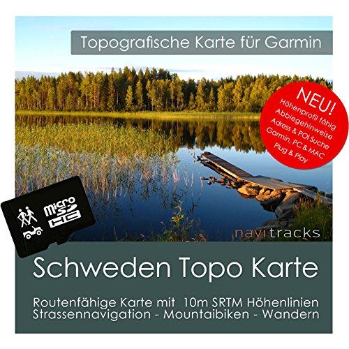 Schweden Garmin Karte TOPO 4GB microSD. Topografische GPS Freizeitkarte für Fahrrad Wandern Touren Trekking Geocaching & Outdoor. Navigationsgeräte, PC & MAC -