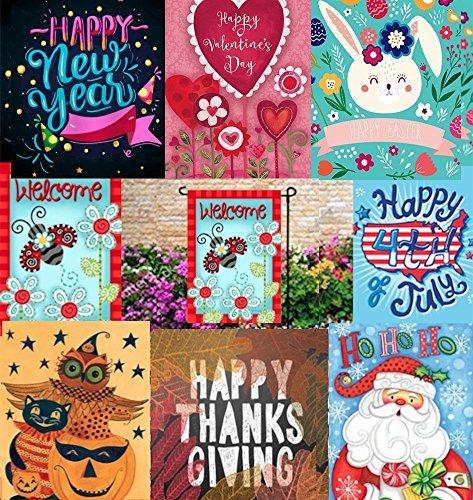 Windflair Seasonal Garten Flagge Set von für Draußen Garten Dekorationen | 8Stück Sortiment von 12x 18Flaggen | Doppelseitig, Polyester, Sehr Yard Decor mit Freunde und Familie