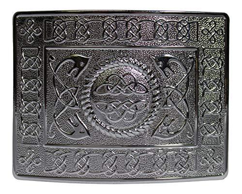 Glen Esk Highland Serpent Celtic Knot Kilt Gürtelschnalle -Polished Chrome Finish Highland Swirl