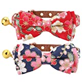 HOMIMP 2 Pack Cat Collars with Bell, Cute Bowtie Puppy Collars for Small Dogs 20-25 cm
