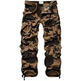 TRGPSG Men's Cotton Wild Cargo Pants, Military Army Camoflage Outdoor Casual Work Combat Trousers with 8 Pockets
