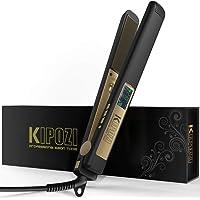 KIPOZI Lisseur Cheveux Professionnel Fer a Lisser Plaque Revêtue de Titane Anti-frisottis, 80-230 Degrés (Noir Mat)