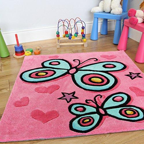 Alfombra suave y decorativa para niñas. Diseño de mariposa en un bonito color rosa. Alta calidad. 90 x 90cm